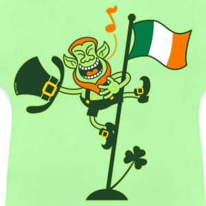 Leprechaun Singing on an Irish Flag Pole Hoodies - Baby T-Shirt