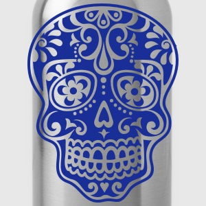 Mexican skull, floral pattern - Days of the Dead T-Shirts - Water Bottle