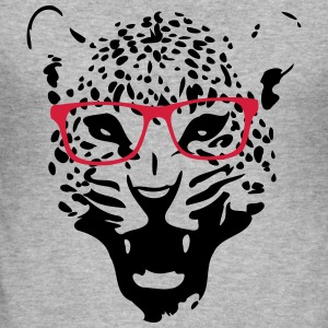 Leopard nerd bril 2c Sweaters - slim fit T-shirt