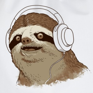 White Sloth with headphones T-Shirts - Drawstring Bag