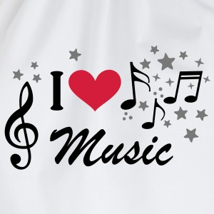 I love Music * muziek Treble Clef Heart ster T-shirts - Gymtas