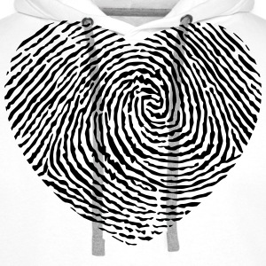 Fingerprint heart  T-Shirts - Men's Premium Hoodie