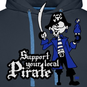 Support your local Pirate Fartuchy - Bluza męska Premium z kapturem