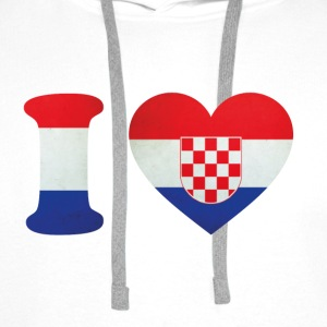 Croatia I Love Flag T-Shirts - Men's Premium Hoodie