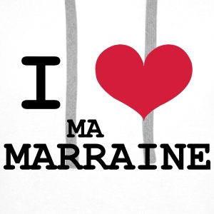 I love ma marraine Tee shirts - Sweat-shirt à capuche Premium pour hommes