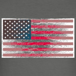 Stofftasche USA-Flagge Used Look - Männer Slim Fit T-Shirt