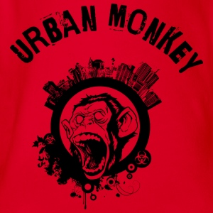 Urban Monkey (inverted), Stadt Affe, DD T-Shirts - Baby Bio-Kurzarm-Body