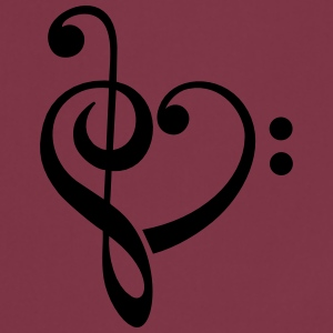 Bass clef heart, treble clef, music lover Camisetas - Delantal de cocina