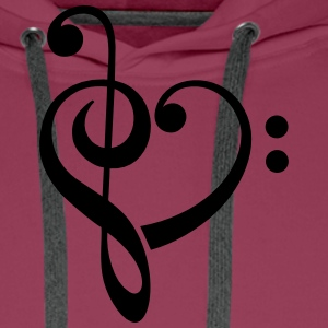 Bass clef heart, treble clef, music lover T-Shirts - Men's Premium Hoodie