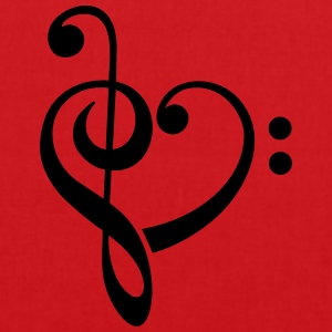 Bass clef heart, treble clef, music lover Tee shirts - Tote Bag