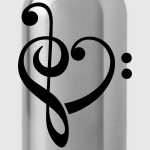 Bass clef heart, treble clef, music lover Camisetas - Cantimplora