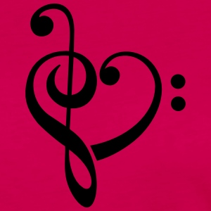 Bass clef heart, treble clef, music lover Tee shirts - T-shirt manches longues Premium Femme