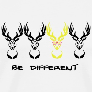 Be different! Hirsch Nerd Geek 3c Flaschen & Tassen - Männer Premium T-Shirt