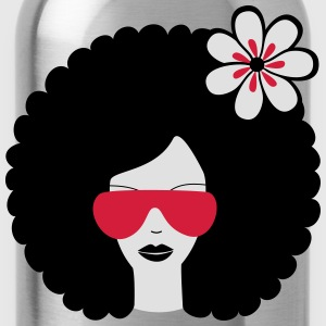 Curly haired sommer girl with flower T-Shirts - Water Bottle
