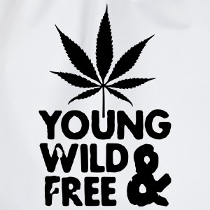 young wild and free weed leaf T-Shirts - Drawstring Bag
