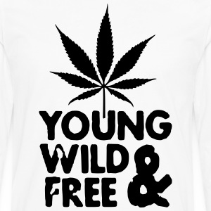 young wild and free weed leaf T-Shirts - Men's Premium Longsleeve Shirt