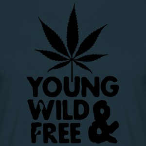 young wild and free weed leaf Forklær - T-skjorte for menn