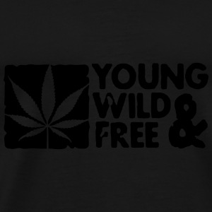 young wild and free weed leaf boxed Gorras - Camiseta premium hombre