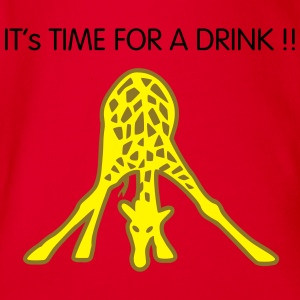 giraffe drinking Shirts - Organic Short-sleeved Baby Bodysuit