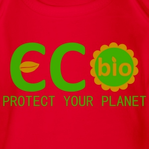 eco bio protect your planet Camisetas - Body orgánico de maga corta para bebé