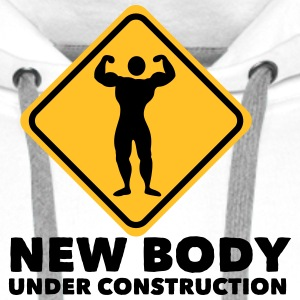 new body under construction 2c T-Shirts - Men's Premium Hoodie