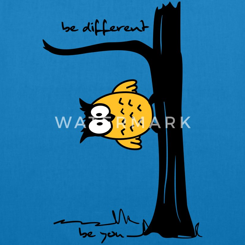 Eule auf Baum be different, be you Taschen - Bio-Stoffbeutel