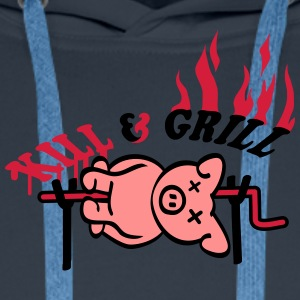 Kill And Grill Pig T-shirts - Mannen Premium hoodie