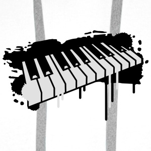 Piano keyboard in graffiti style Buttons - Men's Premium Hoodie