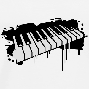 Piano keyboard in graffiti style Buttons - Men's Premium T-Shirt