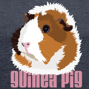 Retro Guinea Pig 'Elsie' Ladies Sweatshirt (text) - Women's T-shirt with rolled up sleeves