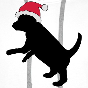 Puppy in Xmas Hat T-Shirts - Men's Premium Hoodie
