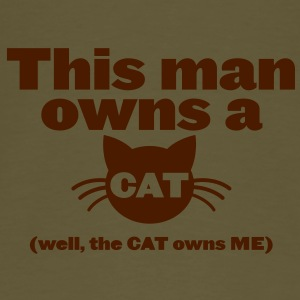 THIS MAN OWNS A CAT (well the cat owns me) Bags & backpacks - Men's Premium T-Shirt