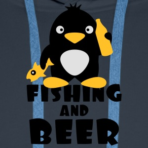 Fishing And Beer Penguin Tee shirts - Sweat-shirt à capuche Premium pour hommes