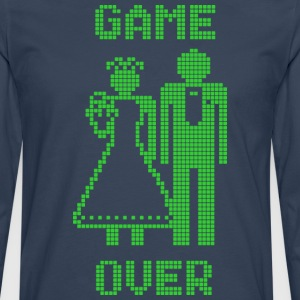 Game Over Old Skool groen T-shirts - Mannen Premium shirt met lange mouwen