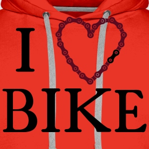 I Heart Love bike chain  T-Shirts - Men's Premium Hoodie