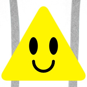 cute funny yellow triangle smiley smiling Bottles & Mugs - Men's Premium Hoodie