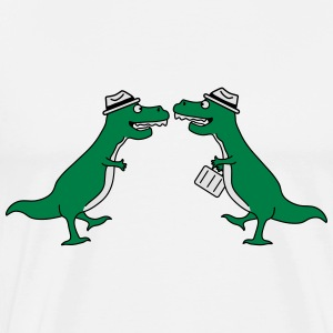 Two Welcome Handshake Businessman T-Rex Sweatshirts - Herre premium T-shirt