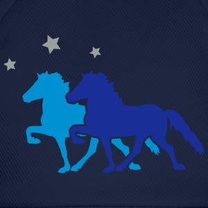 Two Horses with silver-metallic Stars  T-shirts - Basebollkeps