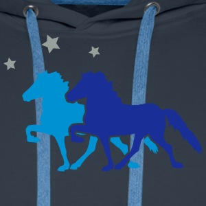 Two Horses with silver-metallic Stars  T-shirts - Mannen Premium hoodie