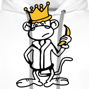 Monkey King with Banana and Crown  Aprons - Men's Premium Hoodie