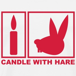 Candle with Hare - Handle with Care Sweaters - Mannen Premium T-shirt