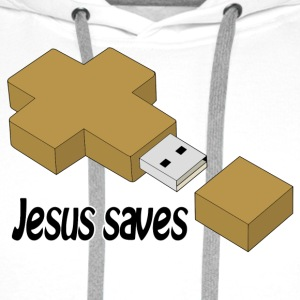 jesus saves usb Other - Men's Premium Hoodie