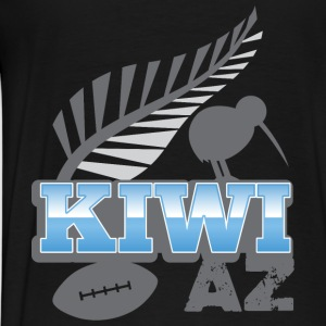 KIWI AZ New Zealand with a rugby ball and bird Long Sleeve Shirts - Men's Premium T-Shirt