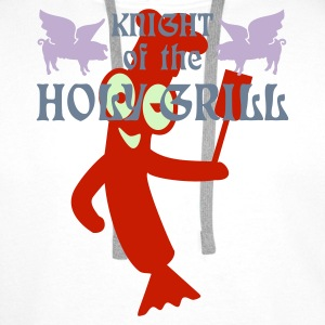 Wit Knight of the holy grill (Txt, 2c) Kookschorten - Mannen Premium hoodie