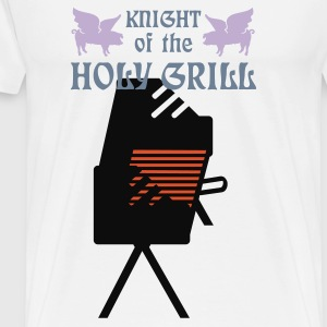 Hvid Knight of the holy grill (Txt, 2c) Forklæder - Herre premium T-shirt