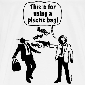 Cartoon: Anti-Plastic Waste Activist (1C) Bags & backpacks - Men's Premium T-Shirt