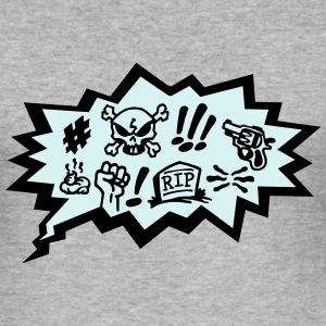 Comic Curses, Symbols Cartoon, Skull, Book, Words Tröjor - Slim Fit T-shirt herr