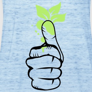 A hand with green leaves on the thumb Hoodies - Women's Tank Top by Bella