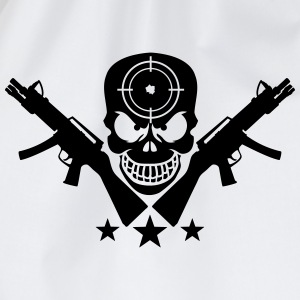 Assault Rifle Gun Skull Target Design T-Shirts - Turnbeutel