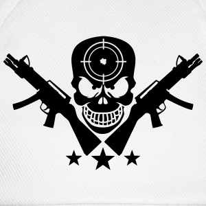 Assault Rifle Gun Skull Target Design T-Shirts - Baseball Cap